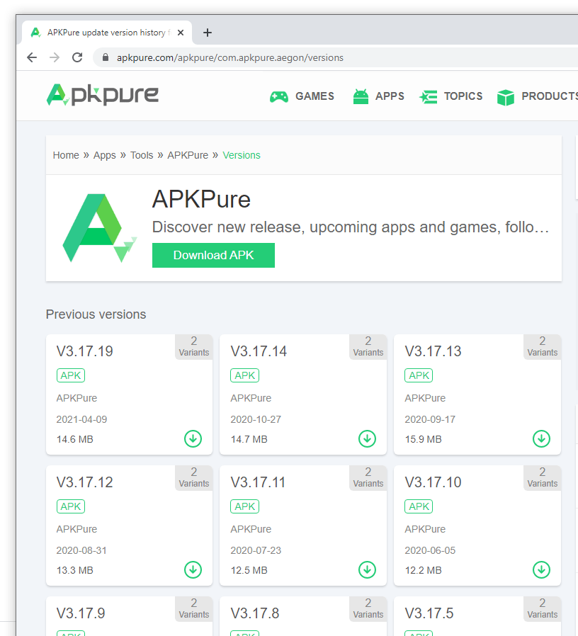 APKPure version history, without version 3.17.18