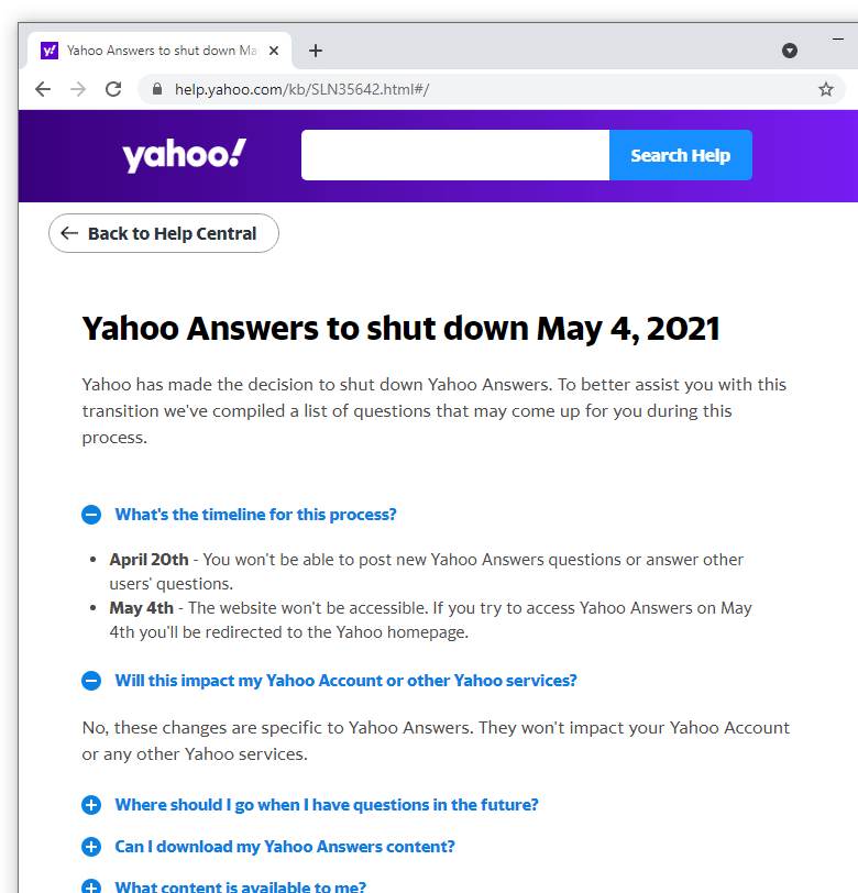 Death of Yahoo! Answers
