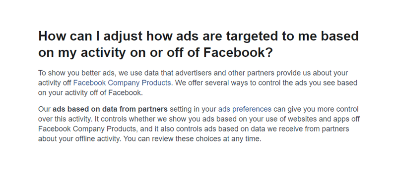 How can I adjust how ads are targeted to me based on my activity on or off of Facebook?