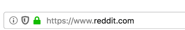 The shield icon in the address bar indicates that 'Enhanced Tracking Protection' is turned on and working