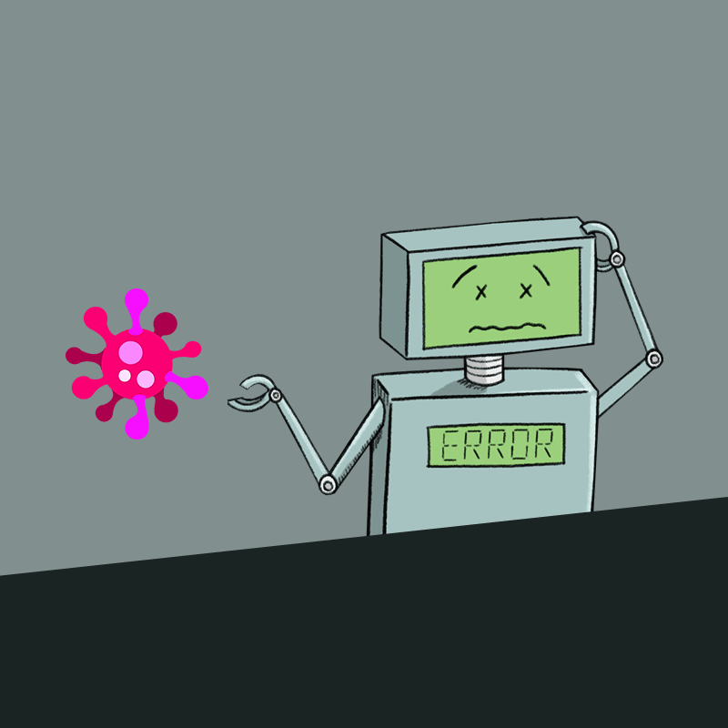 Robot, confused by coronavirus